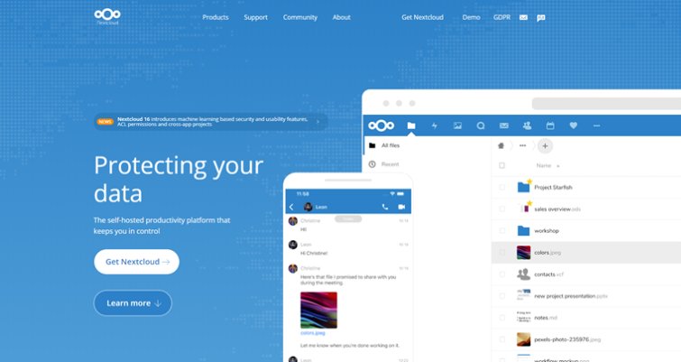 NextCloud homepage