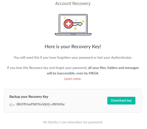 Mega Cloud recovery key