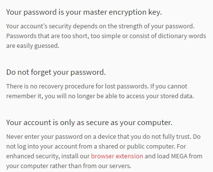 Mega Cloud password master key