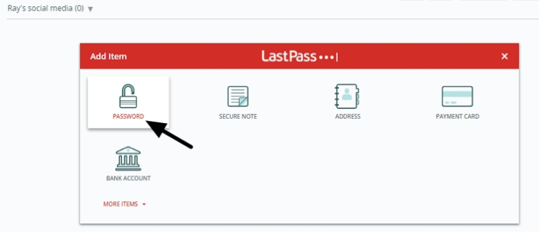 adding a password to lastpass