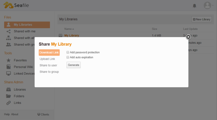 share my library on sea file
