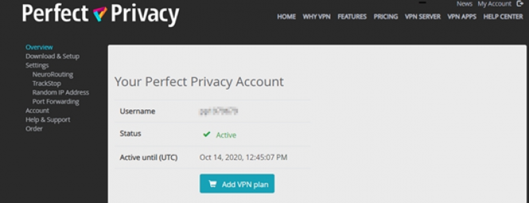 Perfect Privacy account