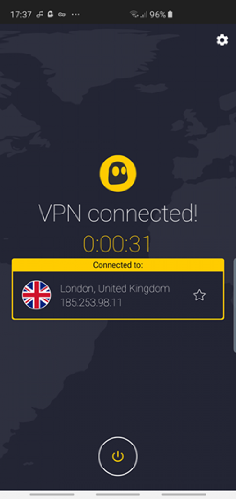 CyberGhost VPN connected