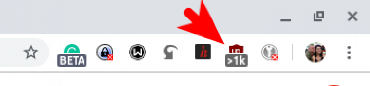 extension icon showing how manyy web page requests are blocked