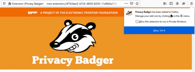 privacy badger homepage