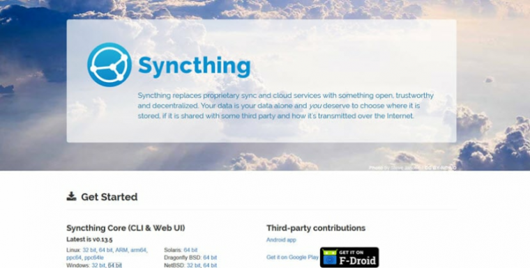 Syncthing home page