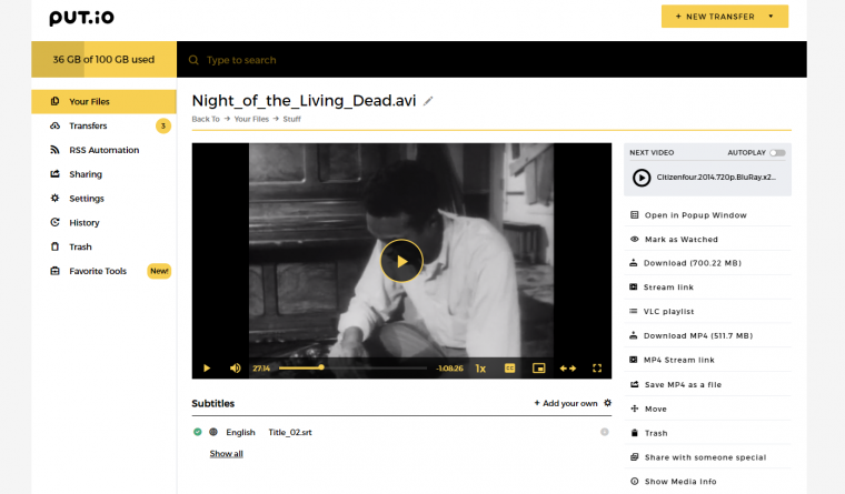 video streaming inside the app