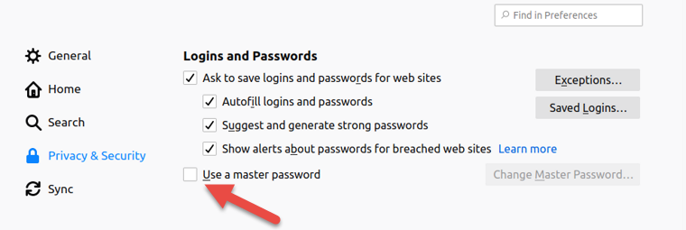 Use a master password